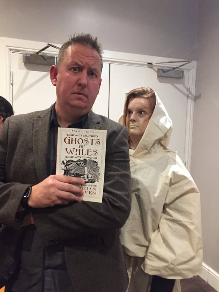 Storyteller Owen Staton and friend at the Ghosts of Wales party at Swansea Grand Hotel.